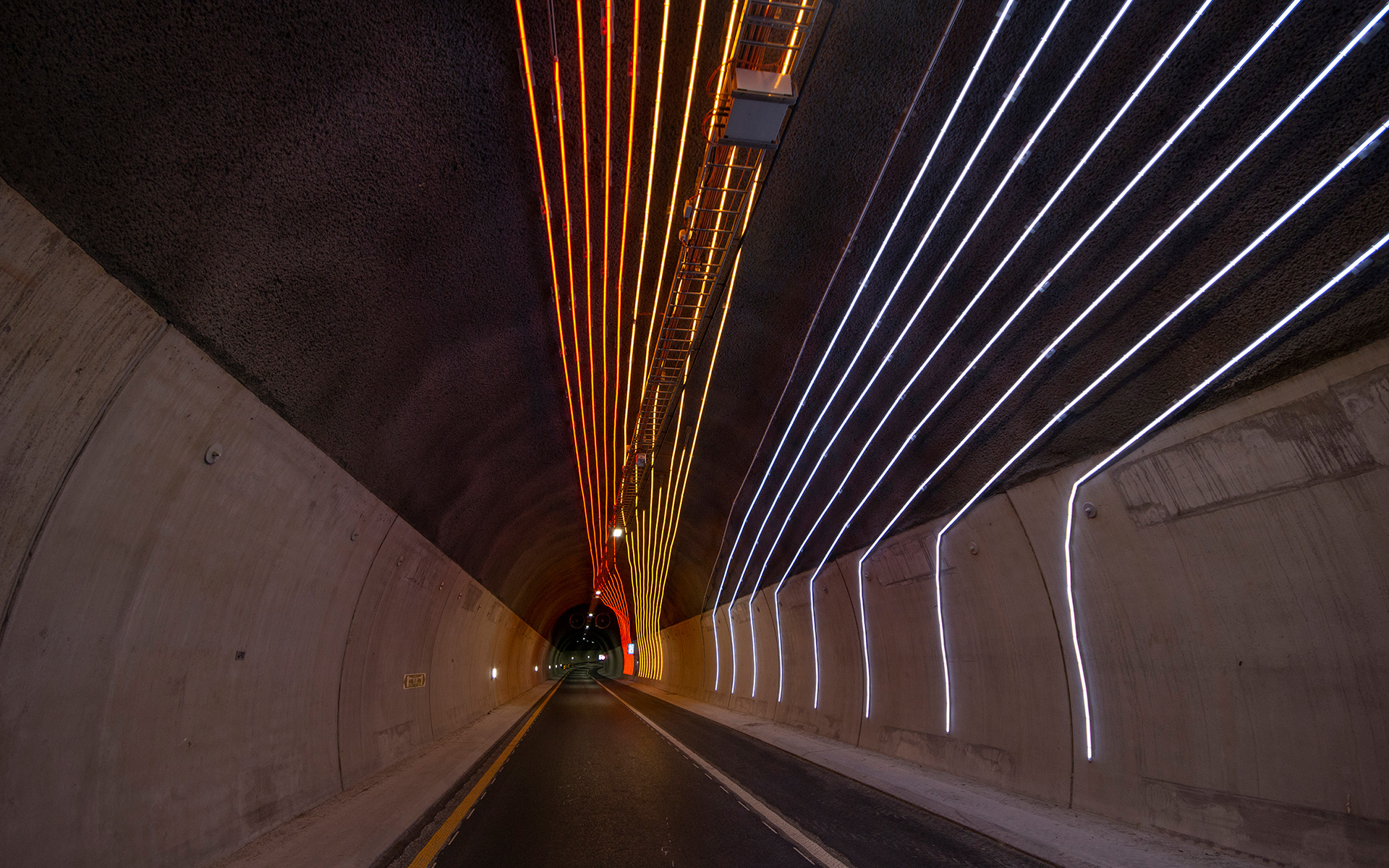 """Light Lines"" #Horizontal-Vertical - part of the traffic safety measures in the Ryfylke Tunnel. Ramp from Buøy"