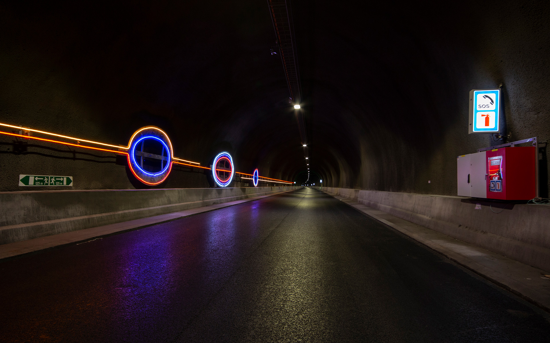 """Light Lines"" #Line 3 - part of the traffic safety measures in the Ryfylke Tunnel"