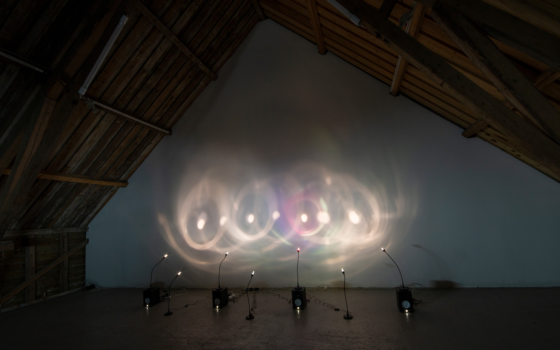 """Four Glasses"", light and sound installation."